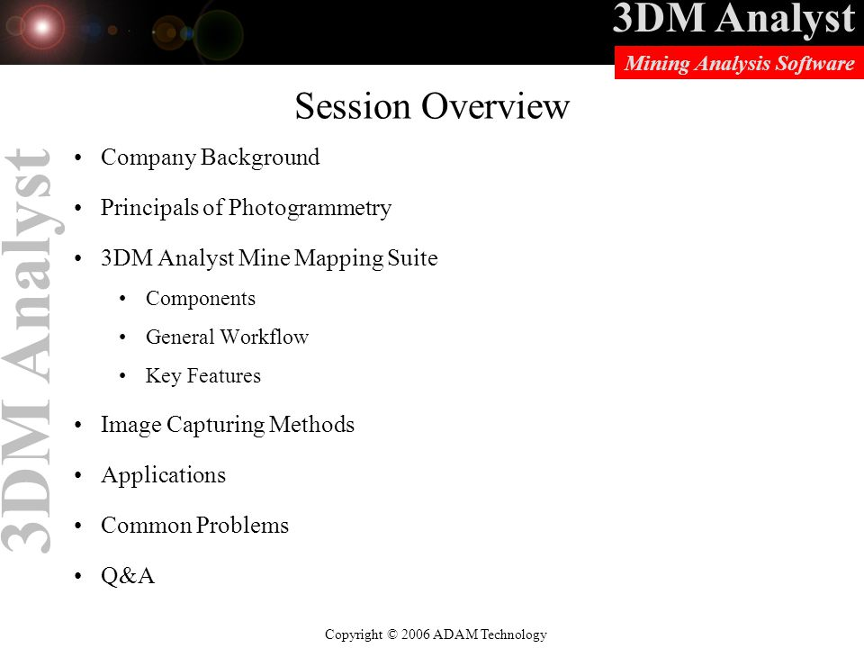 Session Overview Company Background Principals of Photogrammetry