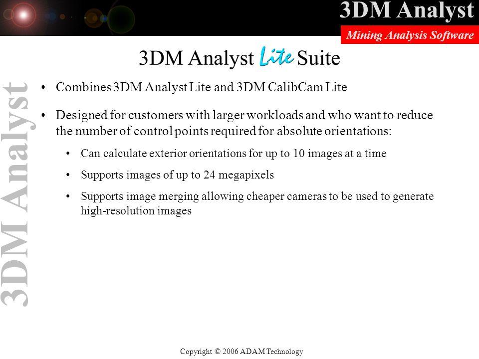 3DM Analyst Lite Suite Combines 3DM Analyst Lite and 3DM CalibCam Lite