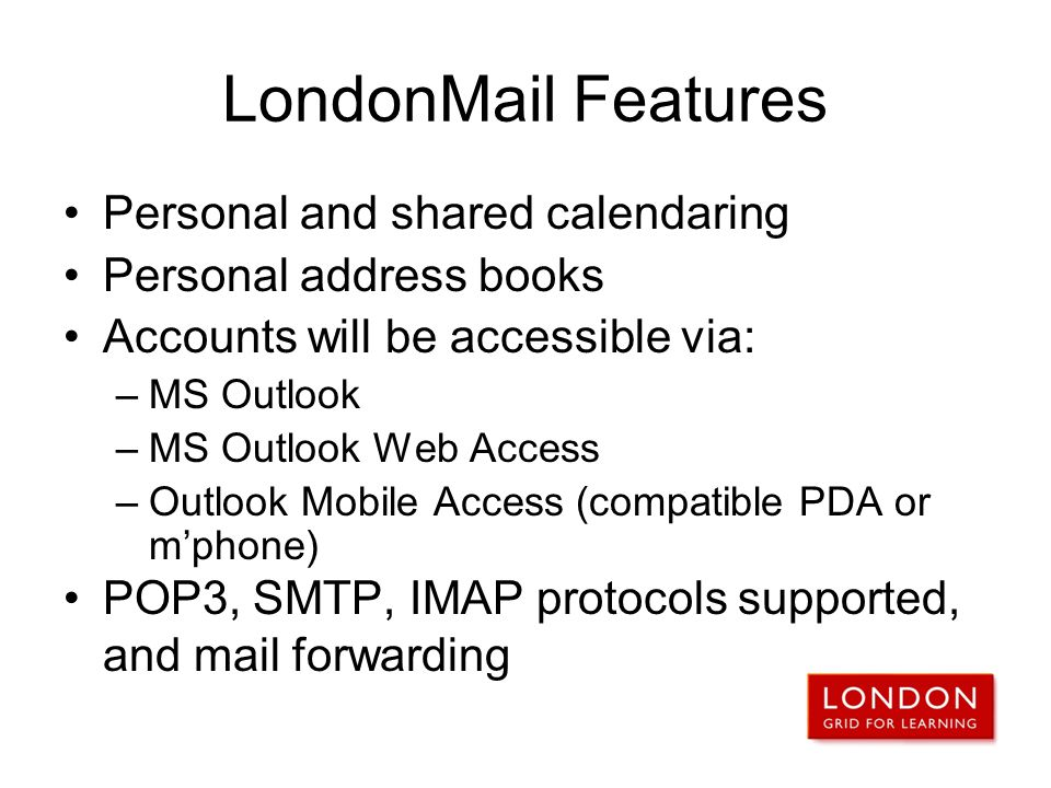 LondonMail Features Personal and shared calendaring