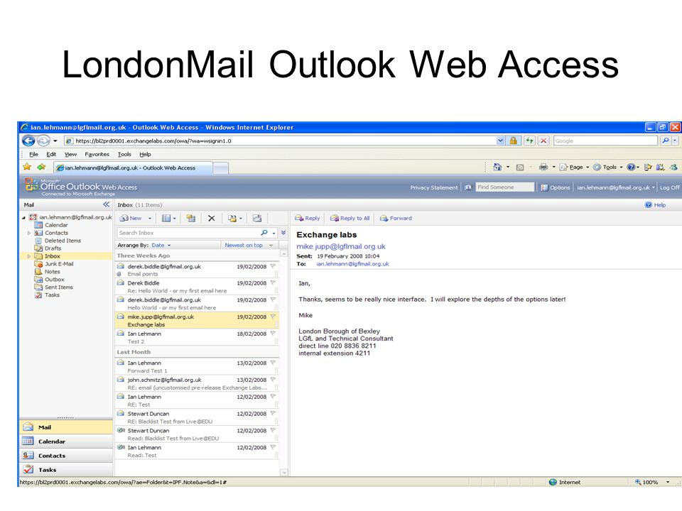 LondonMail Outlook Web Access