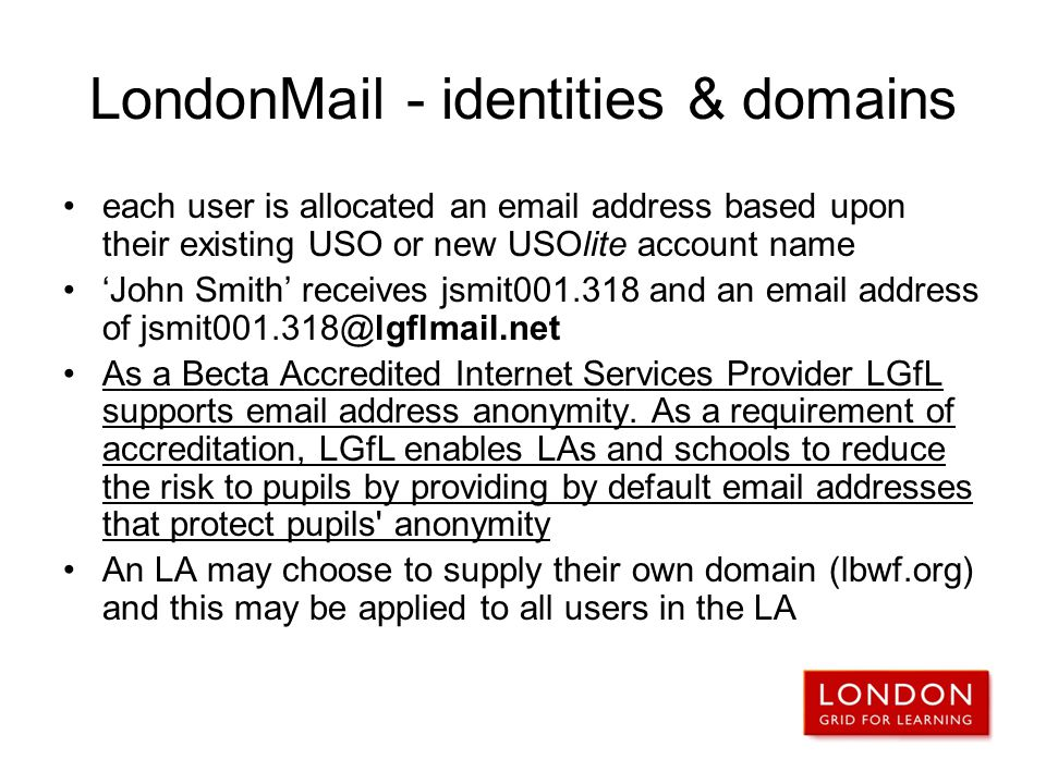 LondonMail - identities & domains
