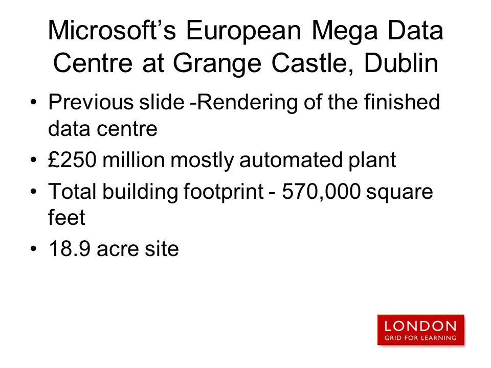 Microsoft's European Mega Data Centre at Grange Castle, Dublin