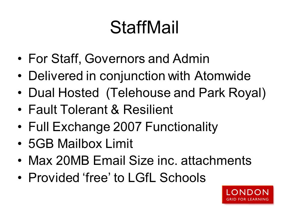 StaffMail For Staff, Governors and Admin