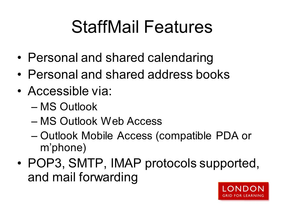StaffMail Features Personal and shared calendaring