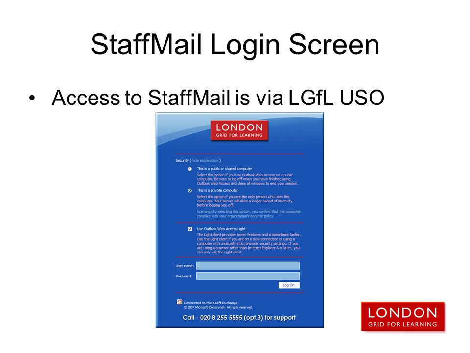 StaffMail Login Screen