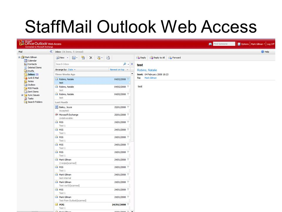 StaffMail Outlook Web Access