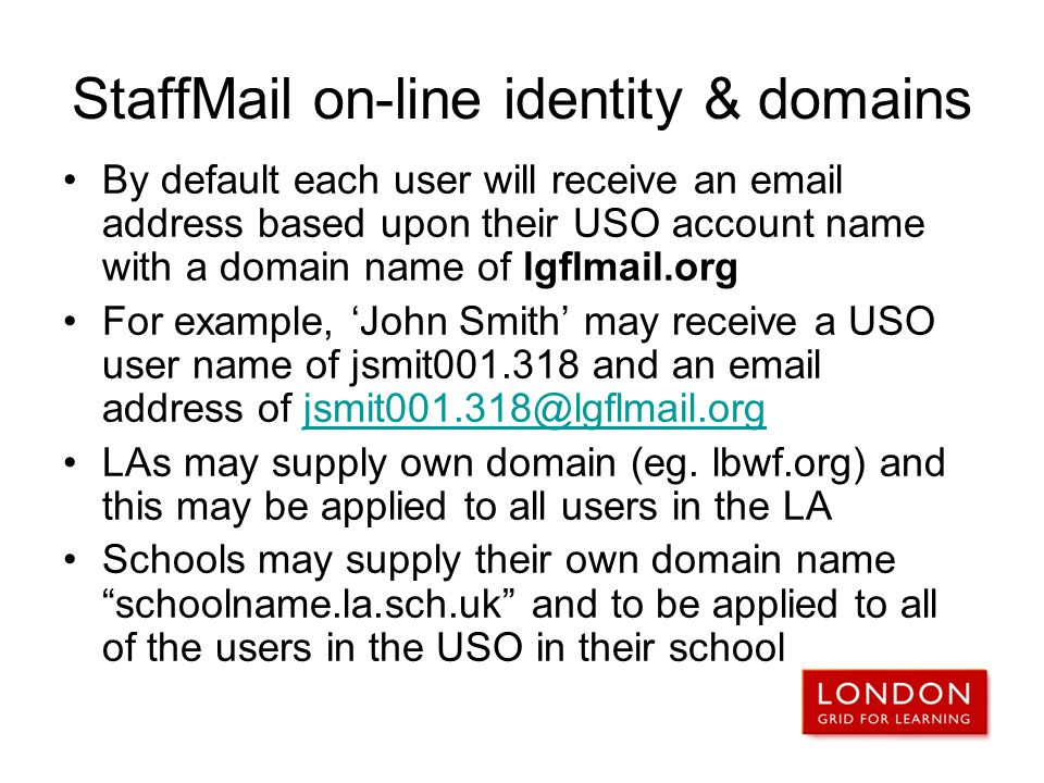 StaffMail on-line identity & domains