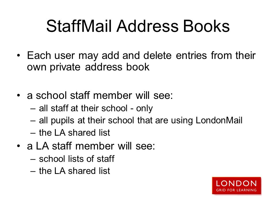 StaffMail Address Books