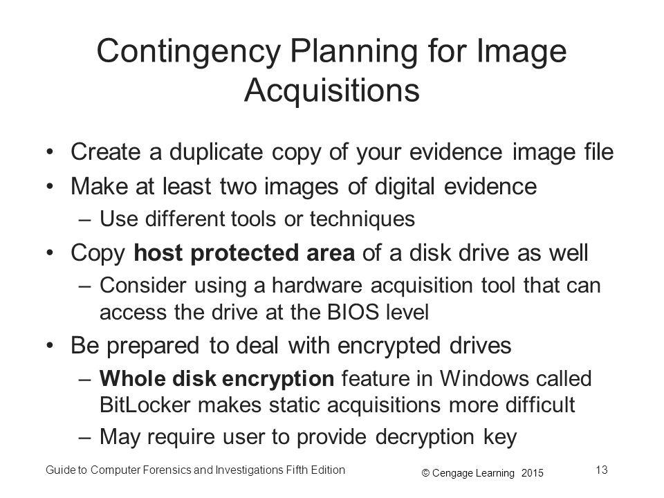 Contingency Planning for Image Acquisitions