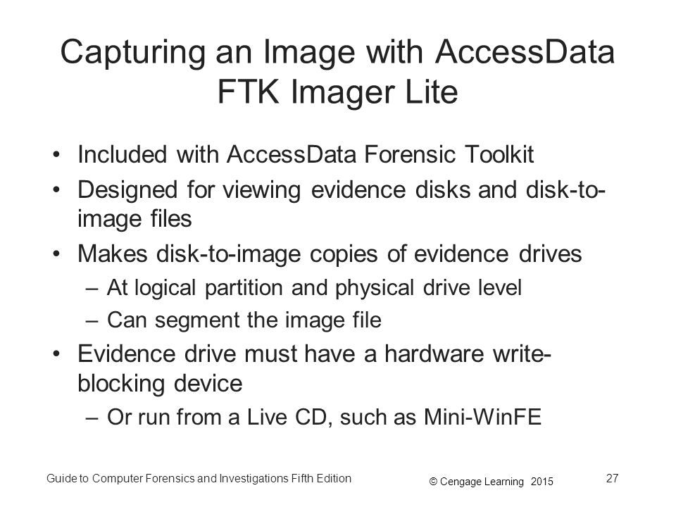 Capturing an Image with AccessData FTK Imager Lite