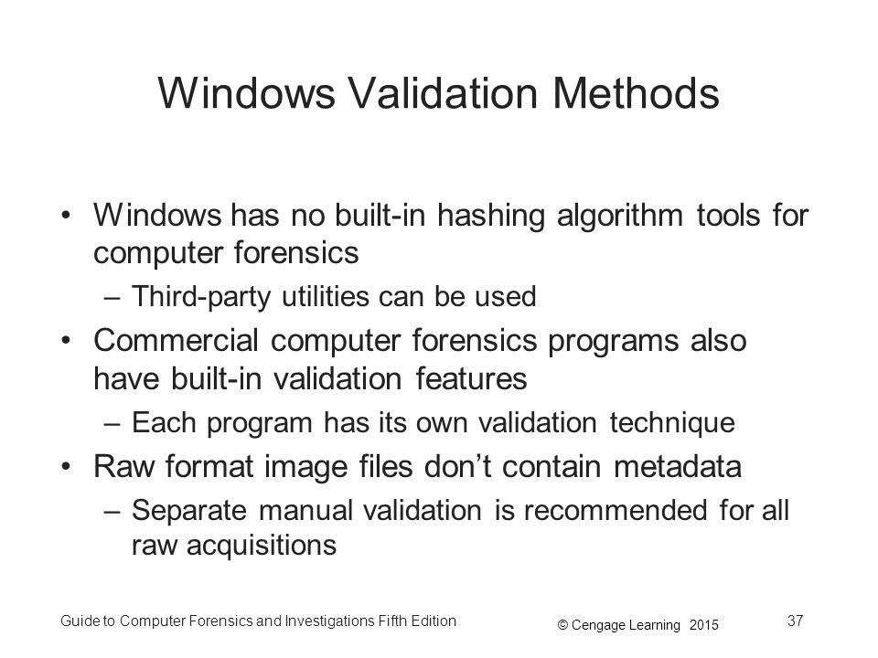 Windows Validation Methods