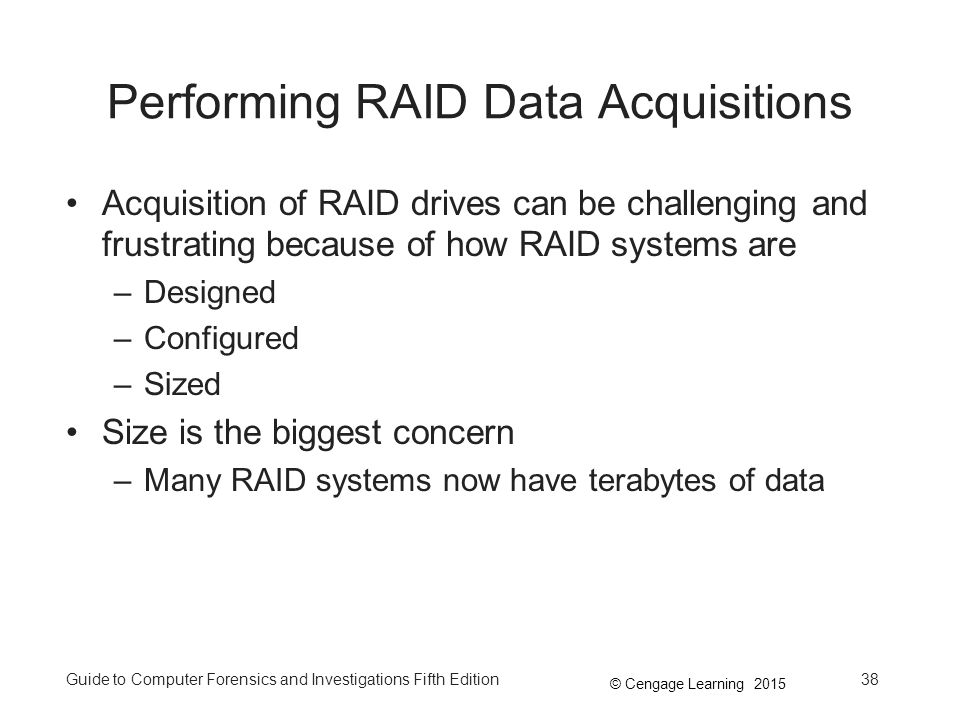 Performing RAID Data Acquisitions