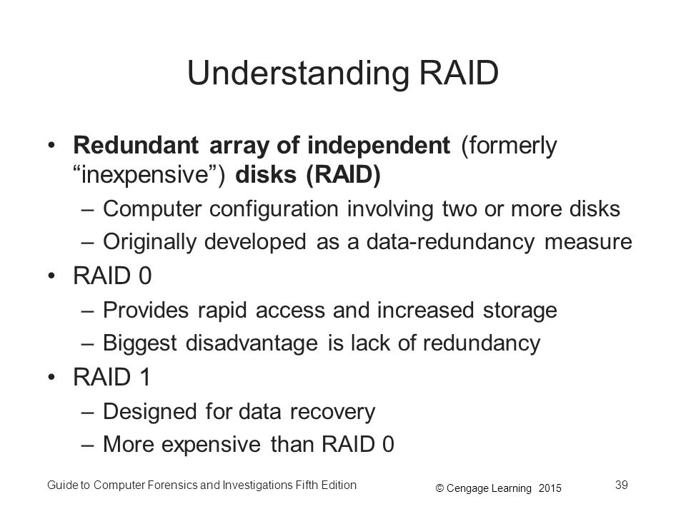 Understanding RAID Redundant array of independent (formerly inexpensive ) disks (RAID) Computer configuration involving two or more disks.