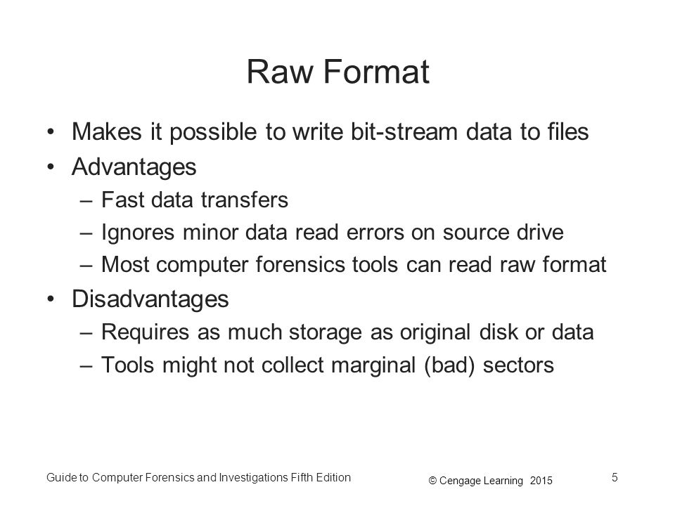 Raw Format Makes it possible to write bit-stream data to files