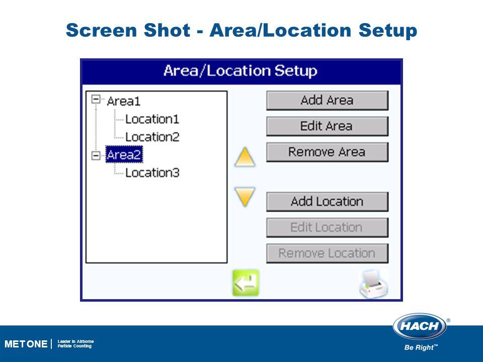 Screen Shot - Area/Location Setup