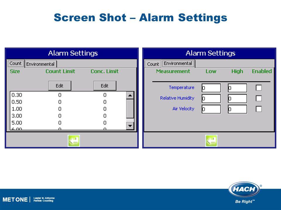 Screen Shot – Alarm Settings