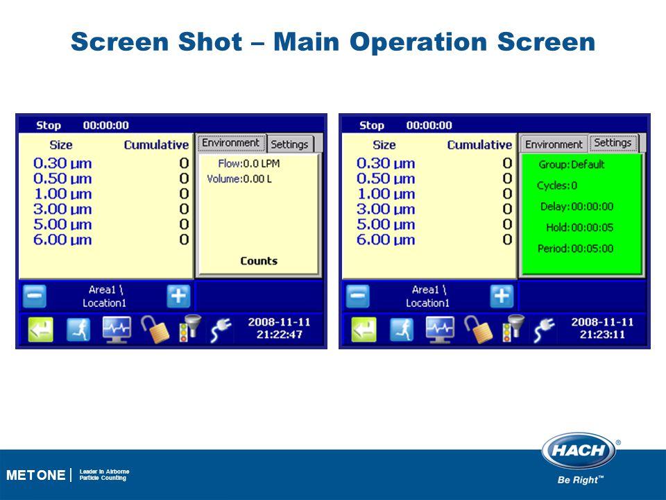 Screen Shot – Main Operation Screen