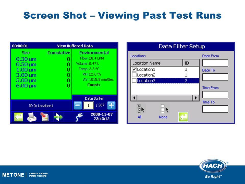 Screen Shot – Viewing Past Test Runs