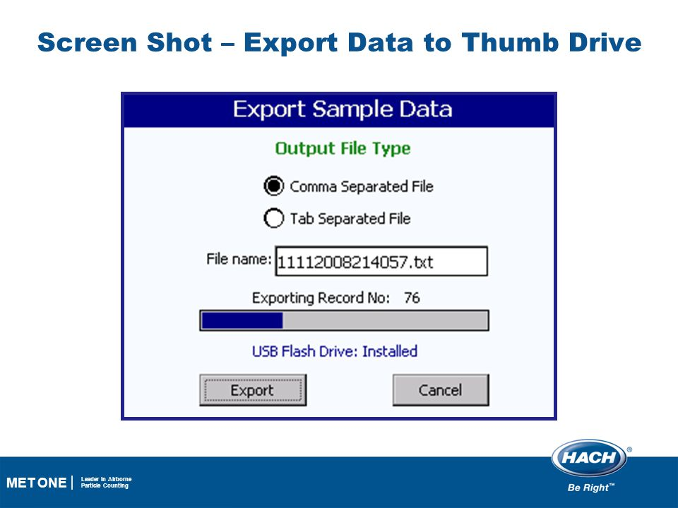 Screen Shot – Export Data to Thumb Drive
