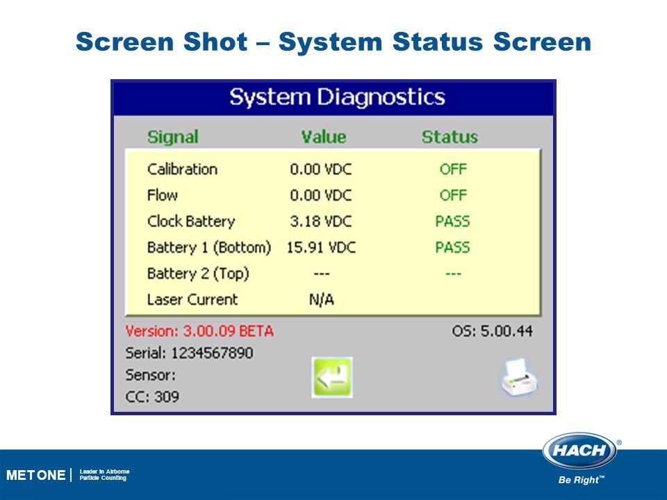 Screen Shot – System Status Screen