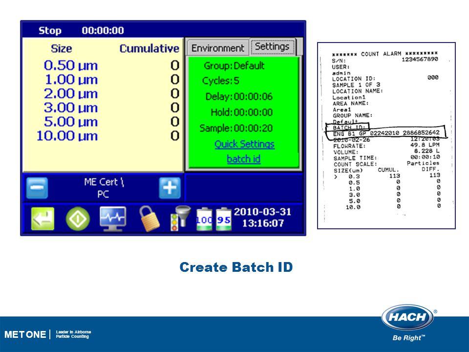 Create Batch ID