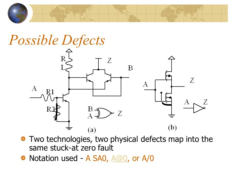 Possible Defects Two technologies, two physical defects map into the same stuck-at zero fault.