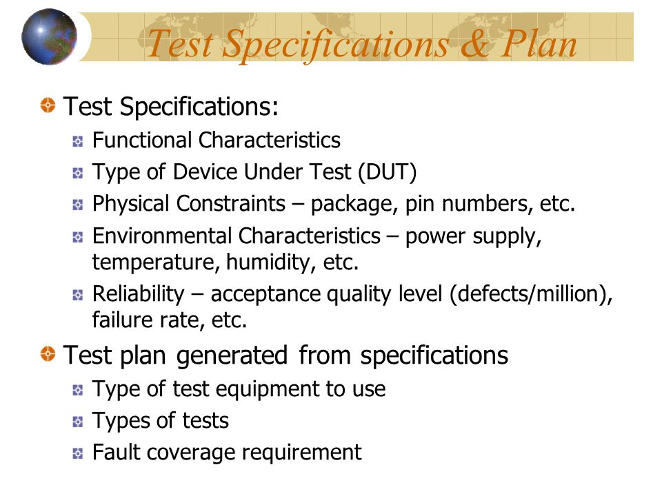 Test Specifications & Plan