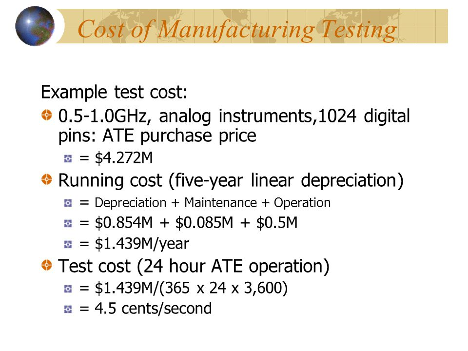 Cost of Manufacturing Testing