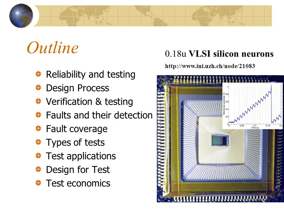 Outline 0.18u VLSI silicon neurons Reliability and testing