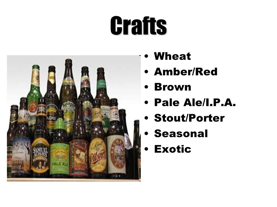 Crafts Wheat Amber/Red Brown Pale Ale/I.P.A. Stout/Porter Seasonal