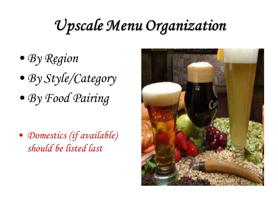 Upscale Menu Organization