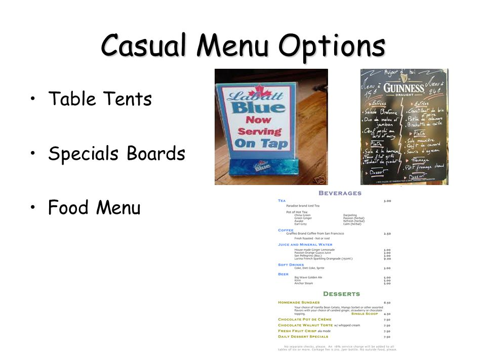 Casual Menu Options Table Tents Specials Boards Food Menu