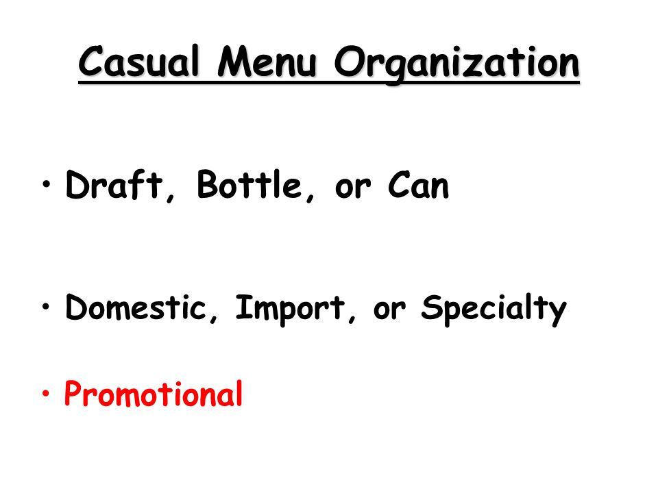 Casual Menu Organization