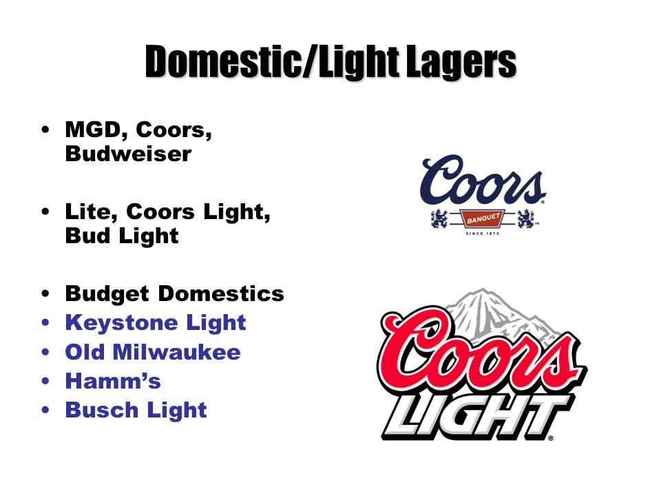Domestic/Light Lagers