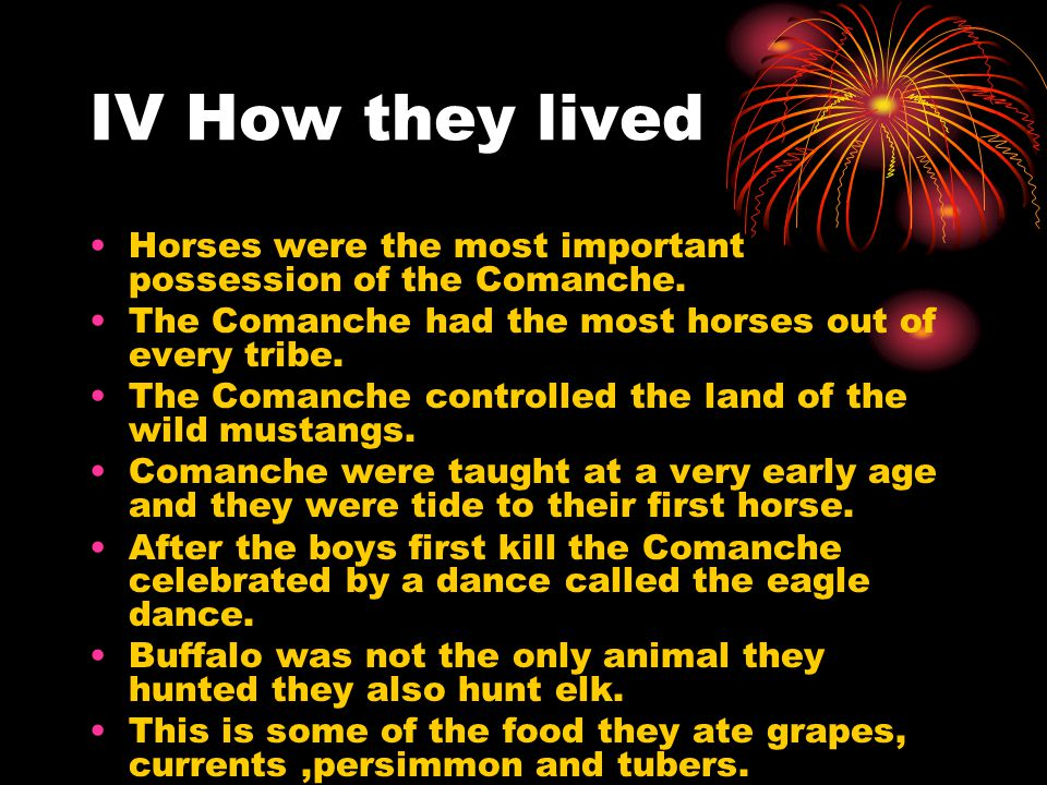 IV How they lived Horses were the most important possession of the Comanche. The Comanche had the most horses out of every tribe.