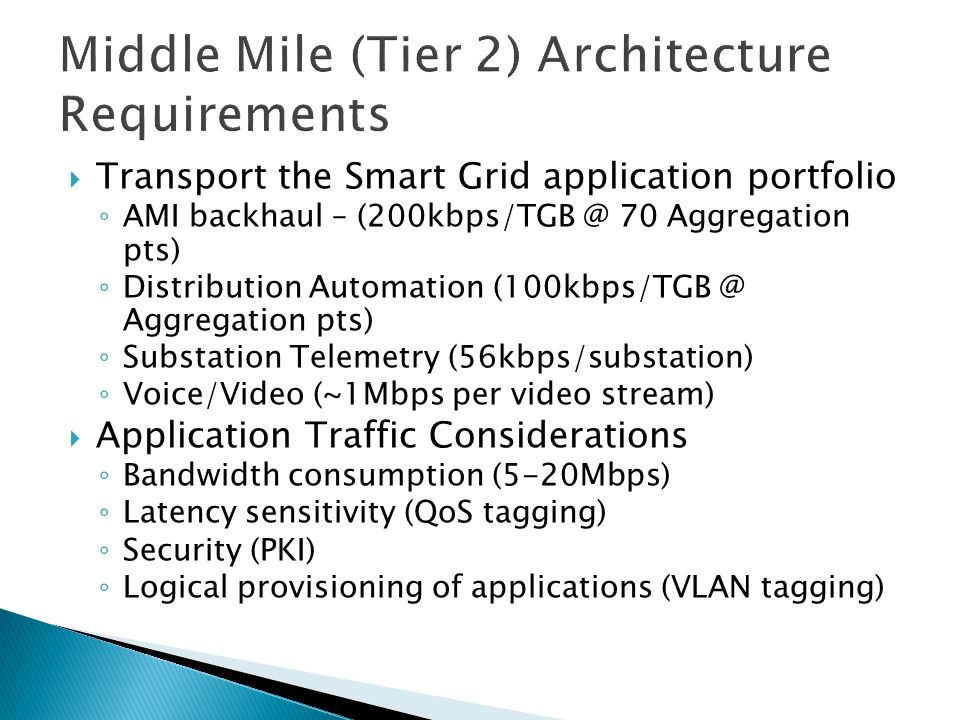 Middle Mile (Tier 2) Architecture Requirements