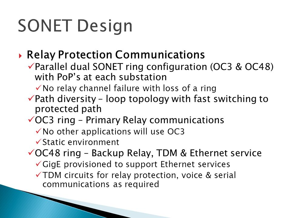 SONET Design Relay Protection Communications