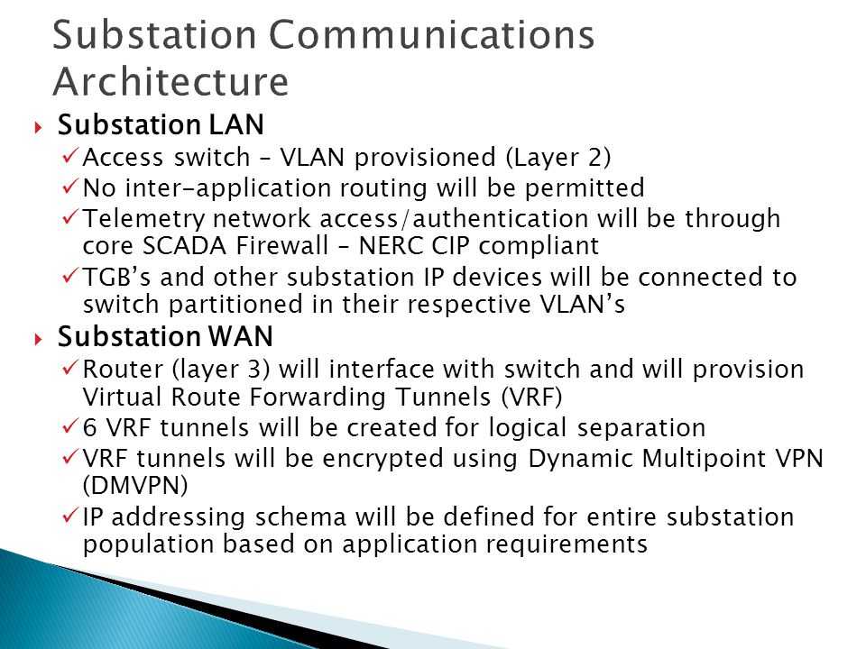 Substation Communications Architecture