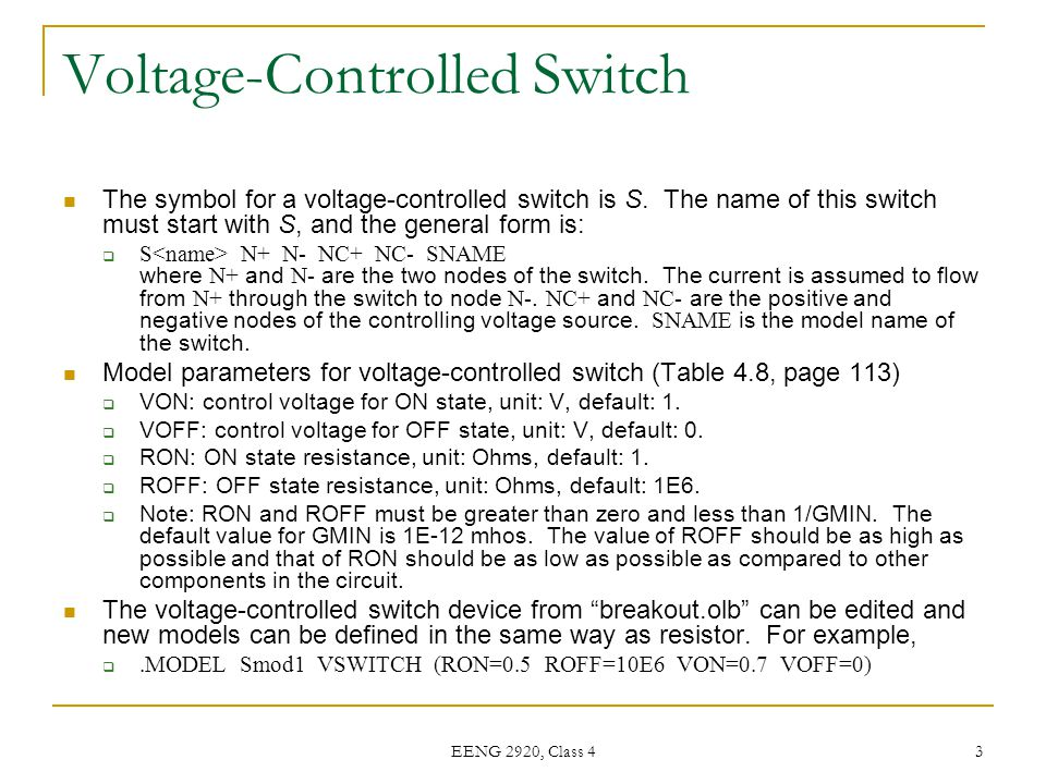 Voltage-Controlled Switch