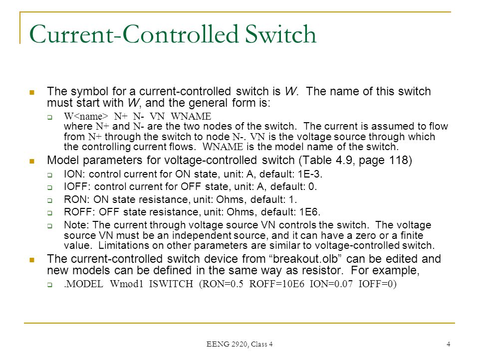 Current-Controlled Switch