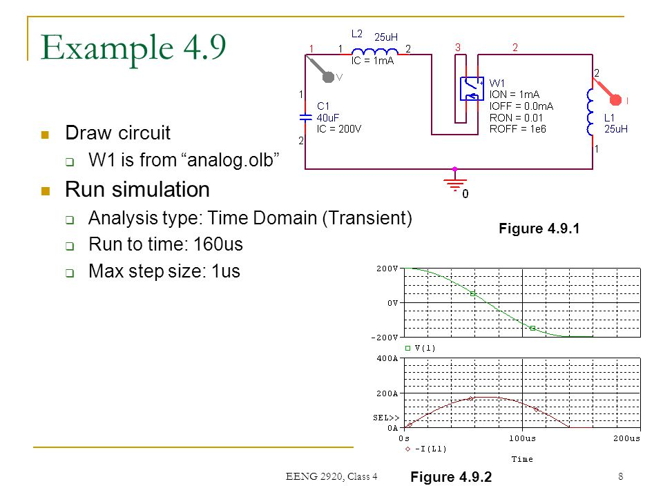 Example 4.9 Run simulation Draw circuit W1 is from analog.olb