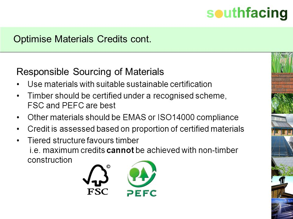 Optimise Materials Credits cont.