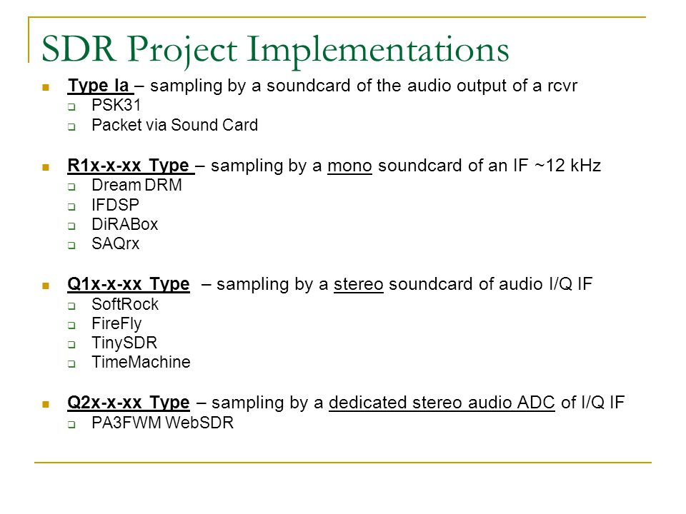 SDR Project Implementations