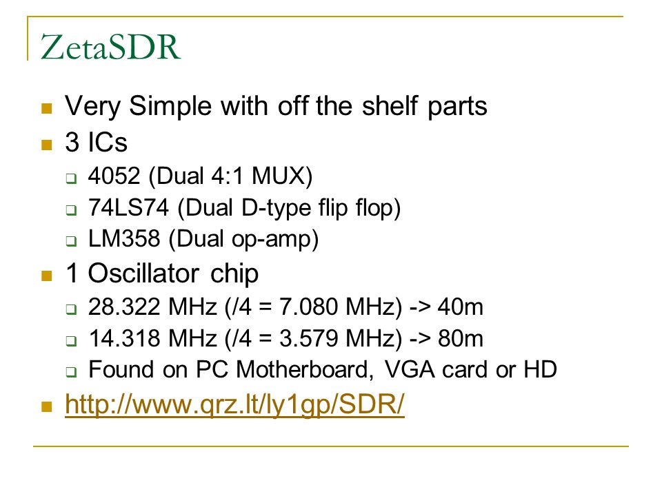 ZetaSDR Very Simple with off the shelf parts 3 ICs 1 Oscillator chip