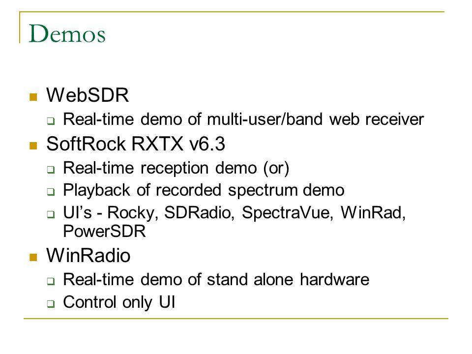 Demos WebSDR SoftRock RXTX v6.3 WinRadio
