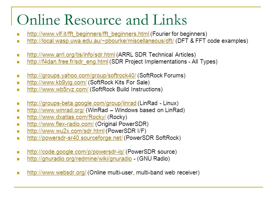 Online Resource and Links