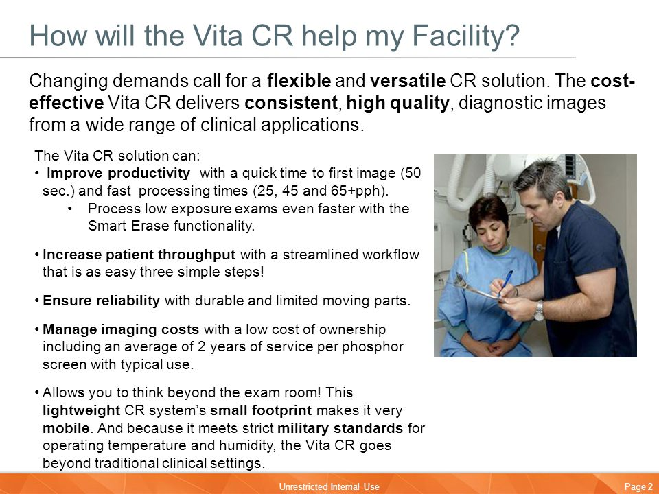 How will the Vita CR help my Facility