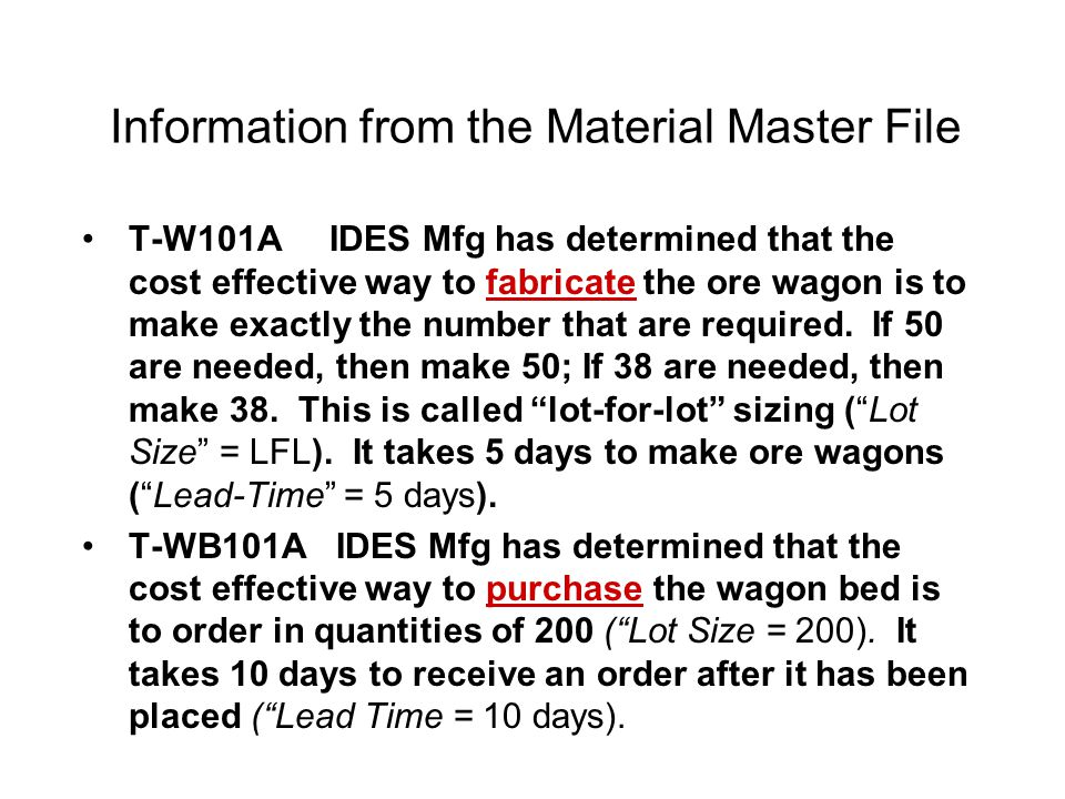 Information from the Material Master File