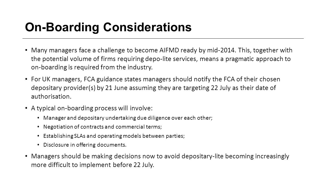 On-Boarding Considerations