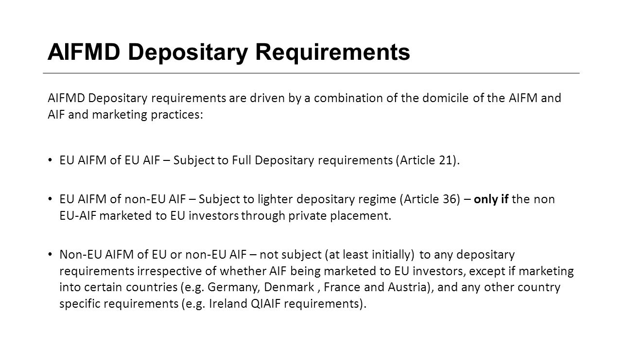 AIFMD Depositary Requirements